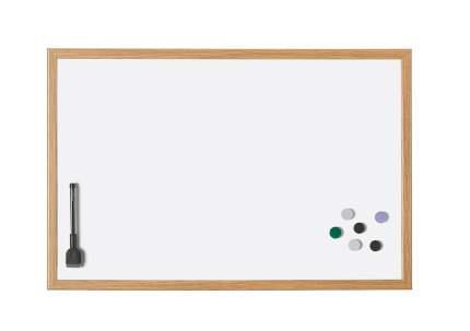 Доска белая Magnetoplan 590х390 мм Лаковая в деревянной раме, магнитно-маркерная
