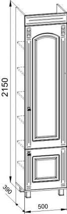 Платяной шкаф Компасс-мебель Элизабет ЭМ-4.1 KOM_EM4_1_1R 50x39x215, береза