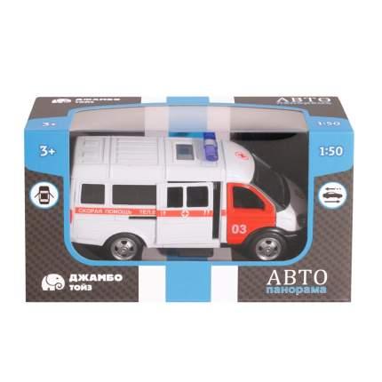 Машинка металлическая Автопанорама Скорая медицинская помощь, белая, 1200067