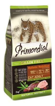 Сухой корм для кошек Primordial Natural instinct, беззерновой, утка, индейка, 2кг
