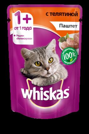 Влажный корм для кошек Whiskas паштет с телятиной, 85г