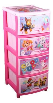 Комод детский Альтернатива Щенячий патруль №1 для девочок 4-х секционный розовый