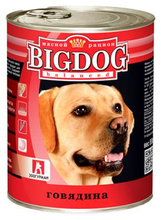 Консервы для собак ЗООГУРМАН Big Dog, говядина, 850г