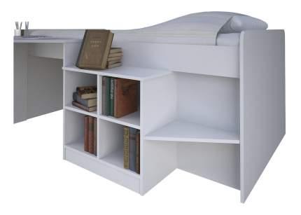 Кровать-чердак Polini Simple со столом и полками 4000, белый