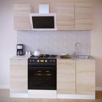 Прямой кухонный гарнитур Сокол ПН-04+ТК-04.1+ПН-08+ТК-08м Белый / Дуб сонома