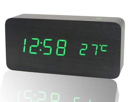 Деревянные настольные LED часы с термометром SLT-6035 (черный корпус, зелёные символы)