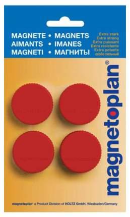 Набор магнитов Magnetoplan Magnum из 4-х штук 34 мм Красный