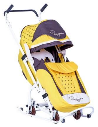 Санки-коляска R-Toys Скользяшки Мозаика желтый/коричневый/светло-бежевый