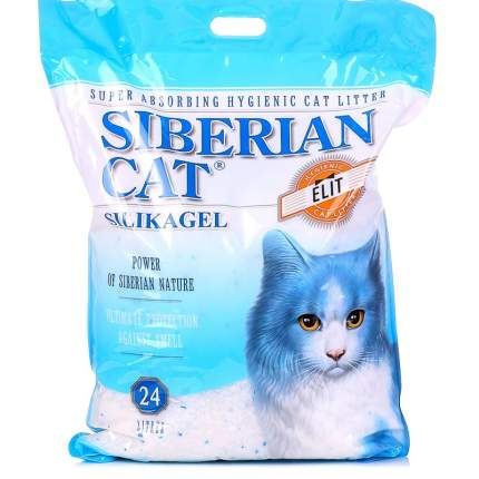 Впитывающий наполнитель для кошек Сибирская кошка Элита силикагелевый, синий, 24 л