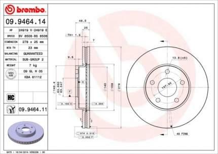 Тормозной диск brembo 09.9464.11