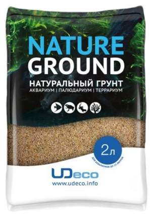 Янтарный песок для аквариумов и террариумов UDeco River Amber, бежевый, 0,1-0,6 мм, 2 л