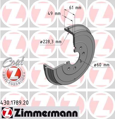 Тормозной барабан ZIMMERMANN 430.1789.20