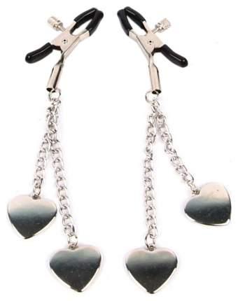 Зажимы для сосков Bior toys с декором в виде сердечек серебристо-черный