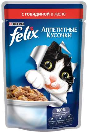 Влажный корм для кошек Felix Аппетитные кусочки, говядина, 85г