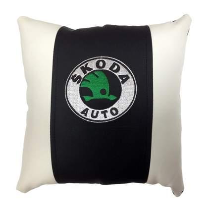 Декоративная подушка из экокожи с логотипом SKODA