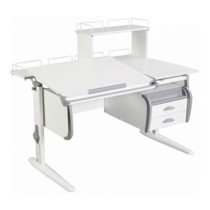 Парта Дэми СУТ-25-04Д WHITE DOUBLE со столешницей, белый, серый, белый,