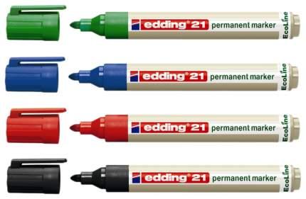 Набор edding перманентных маркеров EcoLine, 1,5-3 мм, заправляемые, 4 цвета в наборе