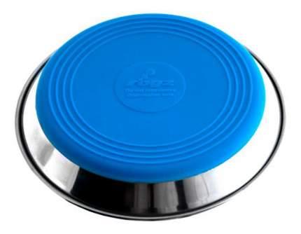 Одинарная миска для кошек Rogz, сталь, силикон, серебристый, голубой, 0.2 л