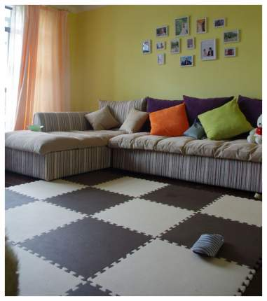 Мягкий коврик-пазл Eco Cover Бежево-коричневый с кромками 4 детали 60х60 см