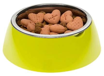 Одинарная миска для кошек и собак Ferplast, пластик, резина, сталь, зеленый, 0.85 л