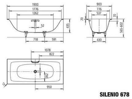 Стальная ванна KALDEWEI Silenio 678 Easy-clean 190х90 без гидромассажа