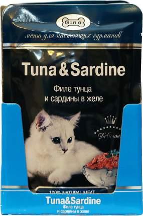 Влажный корм для кошек GINA Tuna&Squid, филе тунца и кальмары в желе, 24 шт по 85г