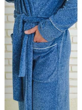 Мужской велюровый халат LikaDress голубой меланж, р.50