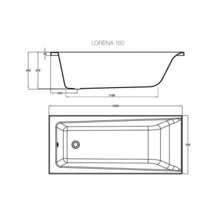 Акриловая ванна Cersanit WP-LORENA*160-W