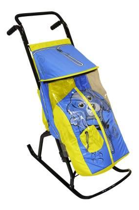 Санки-коляска Скользяшки желто-голубая Собачка Снегурочка