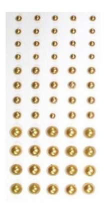 Набор для создания украшений Кустарь Полужемчужины клеевые 3-6 мм золото 60 штук