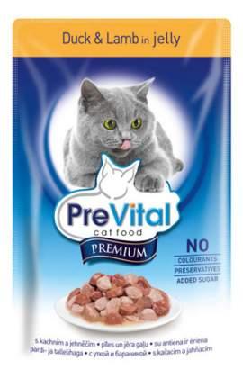 Влажный корм для кошек PreVital Premium, с уткой и ягненком в желе, 100г