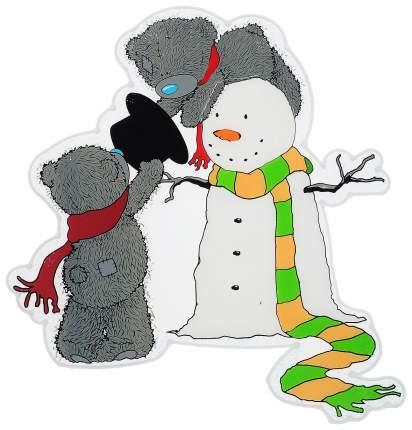 Наклейки новогодние Winter Wings Me to you Медвежата Тедди и снеговик 25х30 см