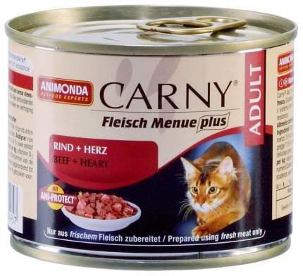 Консервы для кошек Animonda Carny Adult, говядина и сердце, 6шт по 200г