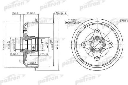 Барабан тормозной PATRON PDR1054