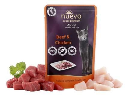 Влажный корм для кошек Nuevo Adult, с говядиной и курицей, 16шт по 85г