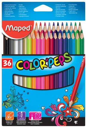 Карандаши цветные COLOR'PEPS, треугольн,36цв. картон. MAPED