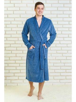 Мужской велюровый халат LikaDress голубой меланж, р.56