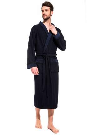 Мужской облегченный махровый халат из бамбука Peche Monnaie 419, синий, XL