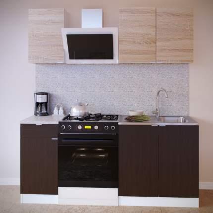 Прямой кухонный гарнитур Сокол ПН-04+ТК-04.1+ПН-08+ТК-08м Белый / Дуб сонома, Венге