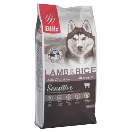 Сухой корм для собак BLITZ Adult All Breeds Sensitive, все породы, ягненок и рис, 15кг