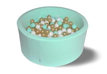 Сухой игровой бассейн Золото с минтолом 40см с 200 шарами: мятный, белый, золотой