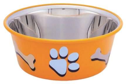 Одинарная миска для кошек и собак Nobby, сталь, резина, оранжевый, 0.4 л