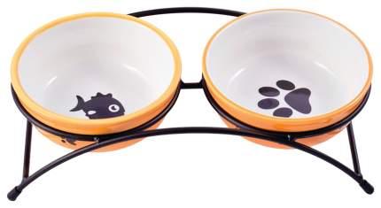 Двойная миска для кошек и собак КерамикАрт, керамика, металл, 2 шт по 0,29 л