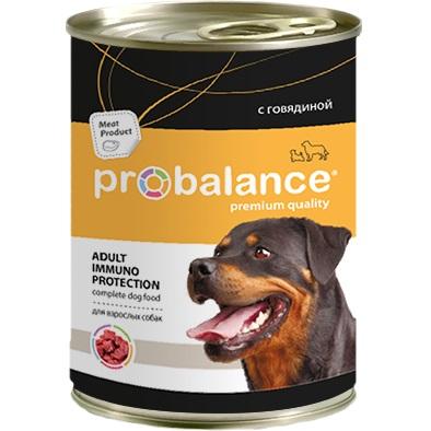 Корм консервированный для собак Probalance Adult Immuno Protection с говядиной, 850 гр