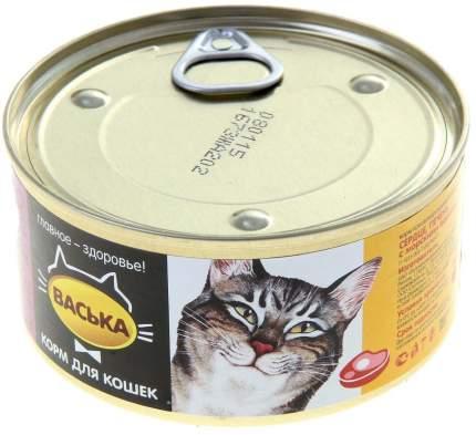 Консервы для кошек Васька, мясо, печень, 325г