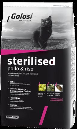 Сухой корм для кошек Golosi Sterilised, для стерилизованных, курица, рис, 20кг