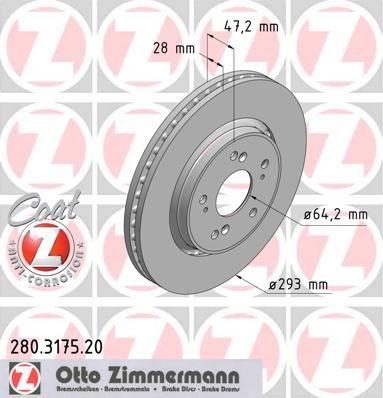 Тормозной диск ZIMMERMANN 280.3175.20