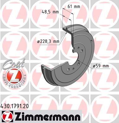 Тормозной барабан ZIMMERMANN 430.1791.20