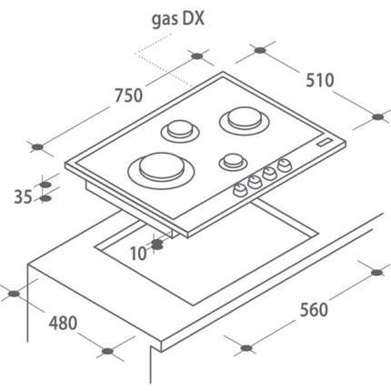 Встраиваемая варочная панель газовая Candy CPG 74SQGX Silver