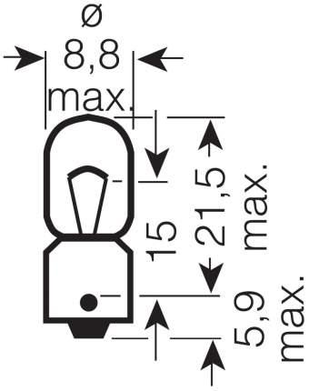 Лампа накаливания автомобильная OSRAM 6W. КСЕНОН (3886X)